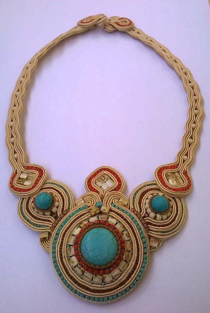 Turquoise creme soutache necklace 2