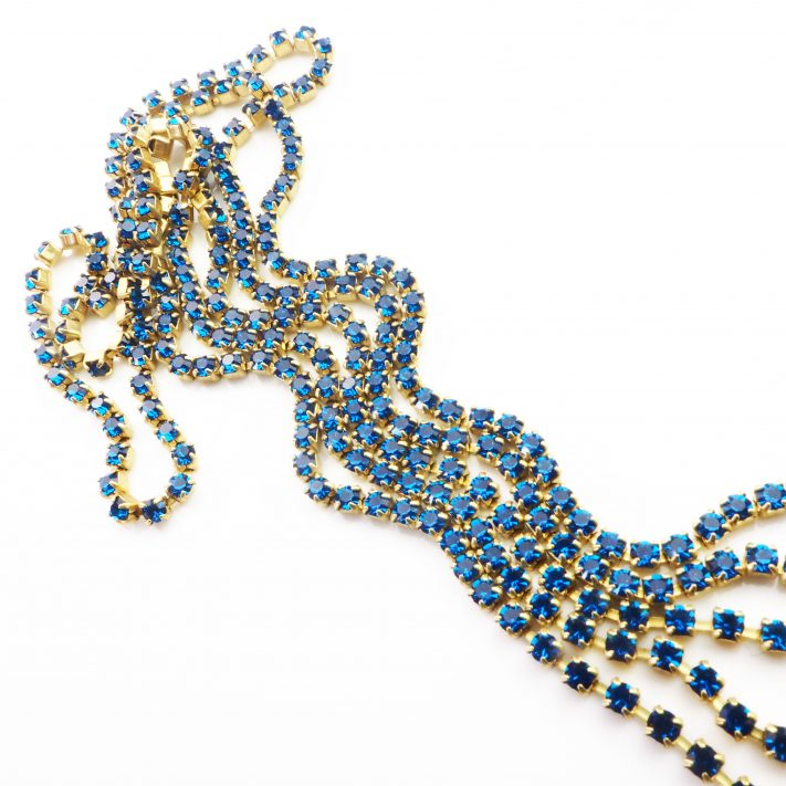 blue rhinestone chain