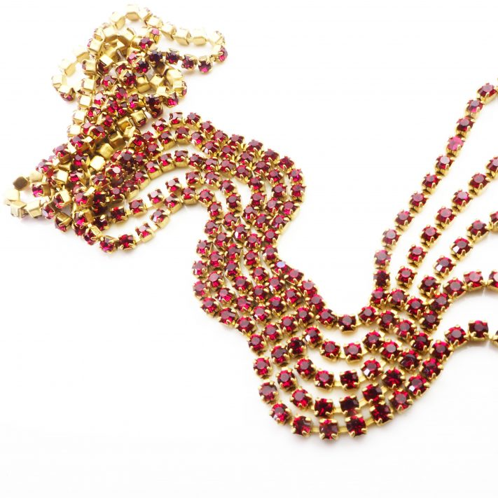 ruby rhinestone chain