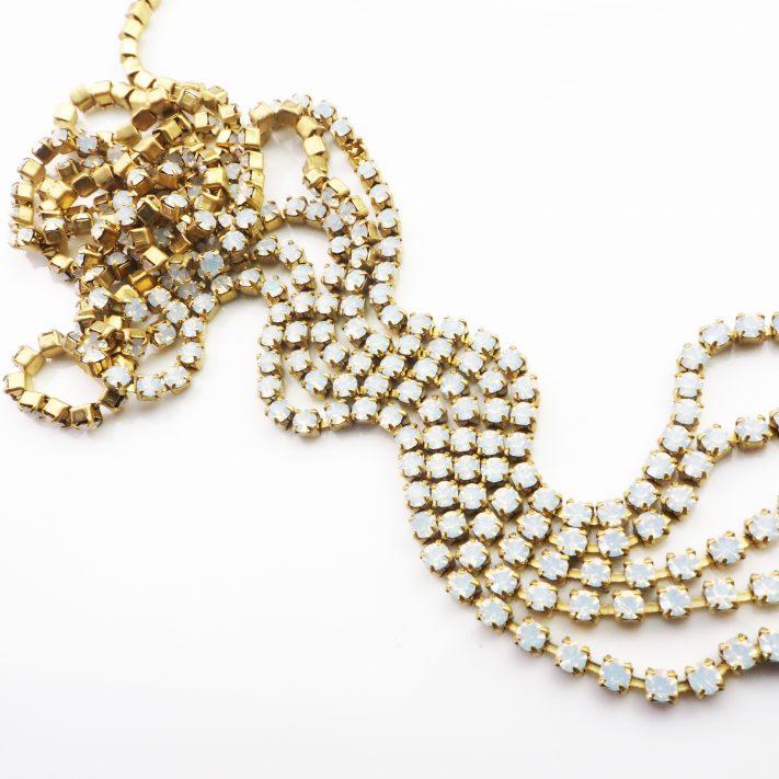 white opal rhinestone chain