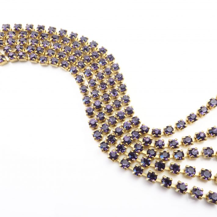 purple rhinestone chain