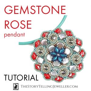 gemstone rose pendant beading tutorial with gemduo ginko true2 beads by erika sandor