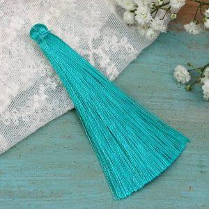 6.5 cm tassel imitiation silk Green Turquoise x 1 pc