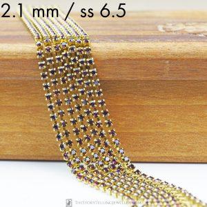 2.1 mm rhinestone chain with Amethyst Preciosa crystals in raw setting x 20 cm