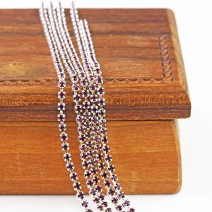 2.1 mm rhinestone chain with Amethyst Preciosa crystals in silver setting x 20 cm
