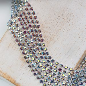 2.1 mm rhinestone chain with Amethyst AB Preciosa crystals in silver setting x 20 cm
