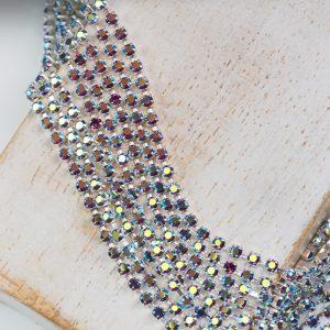 2.1 mm rhinestone chain with Amethyst AB Preciosa crystals in silver setting x 20 cm