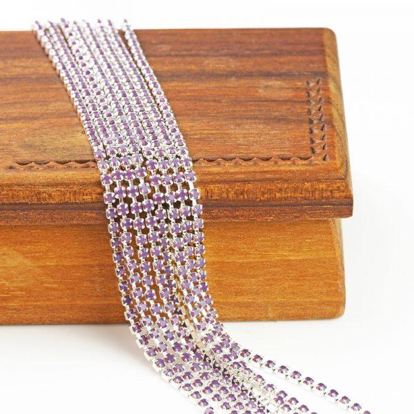 2.1 mm rhinestone chain with Amethyst Opal Preciosa crystals in silver setting x 20 cm