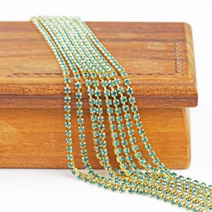 2.1 mm rhinestone chain with Aqua Bohemica Preciosa crystals in raw setting x 20 cm
