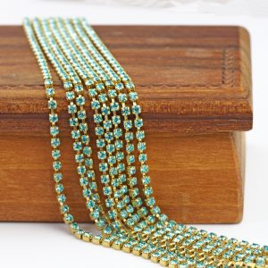 2.1 mm rhinestone chain with Aqua Bohemica Preciosa crystals in silver setting x 20 cm