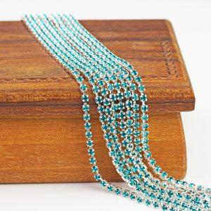 2.1 mm rhinestone chain with Blue Zircon Preciosa crystals in silver setting x 20 cm