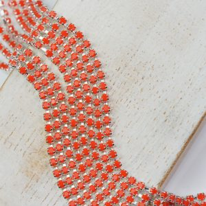 2.1 mm rhinestone chain with Coral Preciosa crystals in silver setting x 20 cm
