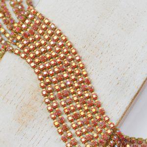 2.1 mm rhinestone chain with Coral AB Preciosa crystals in raw setting x 20 cm