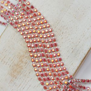 2.1 mm rhinestone chain with Coral AB Preciosa crystals in silver setting x 20 cm