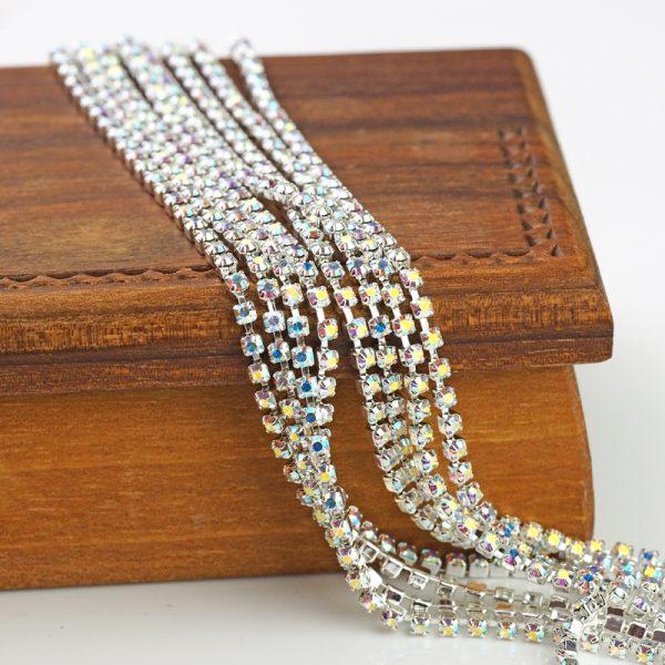 2.1 mm rhinestone chain with Crystal AB Preciosa crystals in silver setting x 20 cm