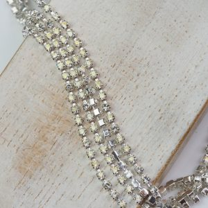 2.1 mm rhinestone chain with Crystal Argent Flare Preciosa crystals in silver setting x 20 cm
