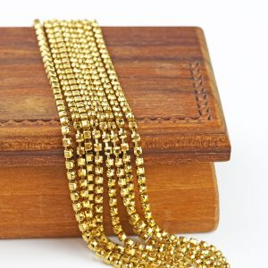 2.1 mm rhinestone chain with Crystal Aurum Preciosa crystals in raw setting x 20 cm