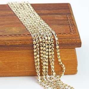 2.1 mm rhinestone chain with Crystal Aurum Preciosa crystals in silver setting x 20 cm