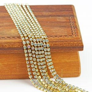 2.1 mm rhinestone chain with Crystal Vitrail Light Preciosa crystals in raw setting x 20 cm