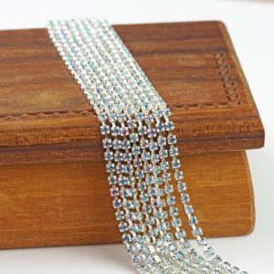 2.1 mm rhinestone chain with Crystal Vitrail Light Preciosa crystals in silver setting x 20 cm