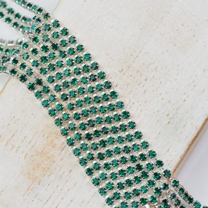 2.1 mm rhinestone chain with Emerald Preciosa crystals in silver setting x 20 cm