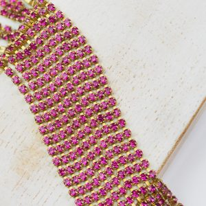 2.1 mm rhinestone chain with Fuchsia Preciosa crystals in raw setting x 20 cm