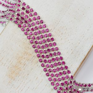 2.1 mm rhinestone chain with Fuchsia Preciosa crystals in silver setting x 20 cm