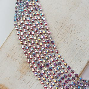 2.1 mm rhinestone chain with Fuchsia AB Preciosa crystals in silver setting x 20 cm