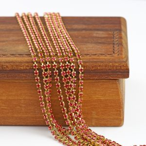 2.1 mm rhinestone chain with Indian Pink Preciosa crystals in raw setting x 20 cm