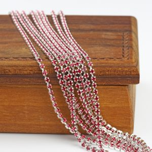 2.1 mm rhinestone chain with Indian Pink Preciosa crystals in silver setting x 20 cm