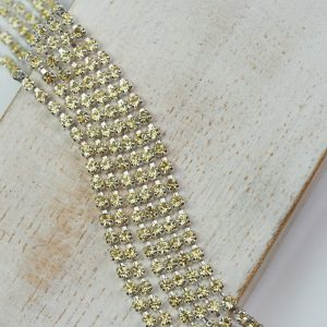 2.1 mm rhinestone chain with Jonquil Preciosa crystals in silver setting x 20 cm