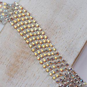 2.1 mm rhinestone chain with Jonquil AB Preciosa crystals in silver setting x 20 cm