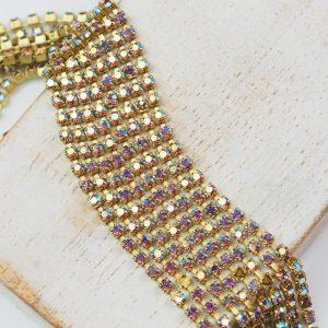 2.1 mm rhinestone chain with Light Amethyst AB Preciosa crystals in raw setting x 20 cm