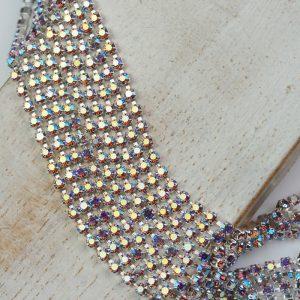 2.1 mm rhinestone chain with Light Amethyst AB Preciosa crystals in silver setting x 20 cm