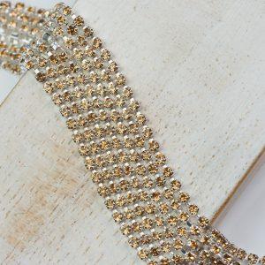 2.1 mm rhinestone chain with Light Colorado Topaz Preciosa crystals in silver setting x 20 cm
