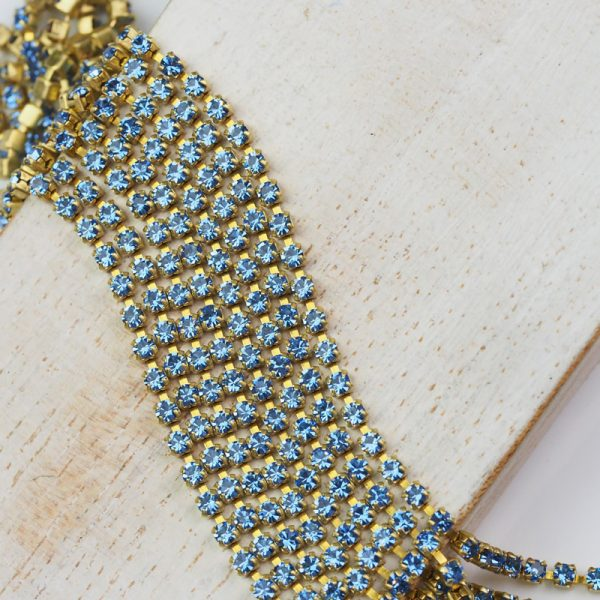 2.1 mm rhinestone chain with Light Sapphire Preciosa crystals in raw setting x 20 cm