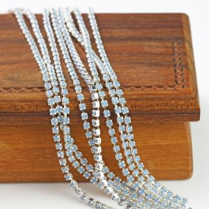 2.1 mm rhinestone chain with Light Sapphire Opal Preciosa crystals in silver setting x 20 cm