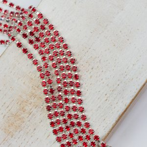 2.1 mm rhinestone chain with Light Siam Preciosa crystals in silver setting x 20 cm