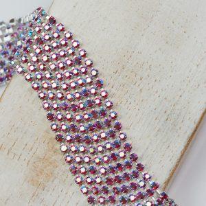 2.1 mm rhinestone chain with Light Siam AB Preciosa crystals in silver setting x 20 cm