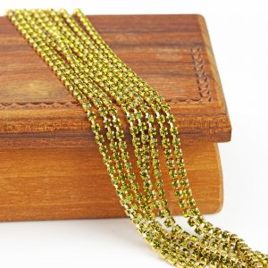 2.1 mm rhinestone chain with Olivine Preciosa crystals in raw setting x 20 cm