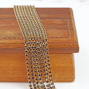 2.1 mm rhinestone chain with Purple Velvet Preciosa crystals in raw setting x 20 cm
