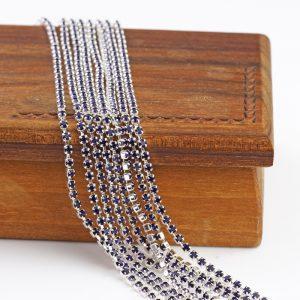 2.1 mm rhinestone chain with Purple Velvet Preciosa crystals in silver setting x 20 cm