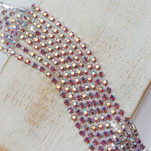 2.1 mm rhinestone chain with Rose AB Preciosa crystals in silver setting x 20 cm