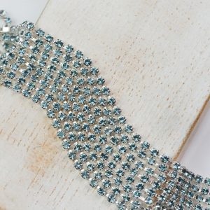 2.1 mm rhinestone chain with Smoked Sapphire Preciosa crystals in silver setting x 20 cm