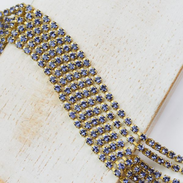 2.1 mm rhinestone chain with Tanzanite Preciosa crystals in raw setting x 20 cm
