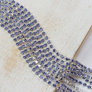 2.1 mm rhinestone chain with Tanzanite Preciosa crystals in silver setting x 20 cm