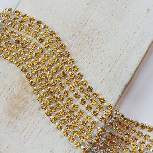2.1 mm rhinestone chain with Topaz Preciosa crystals in silver setting x 20 cm