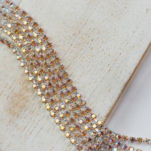 2.1 mm rhinestone chain with Topaz AB Preciosa crystals in silver setting x 20 cm