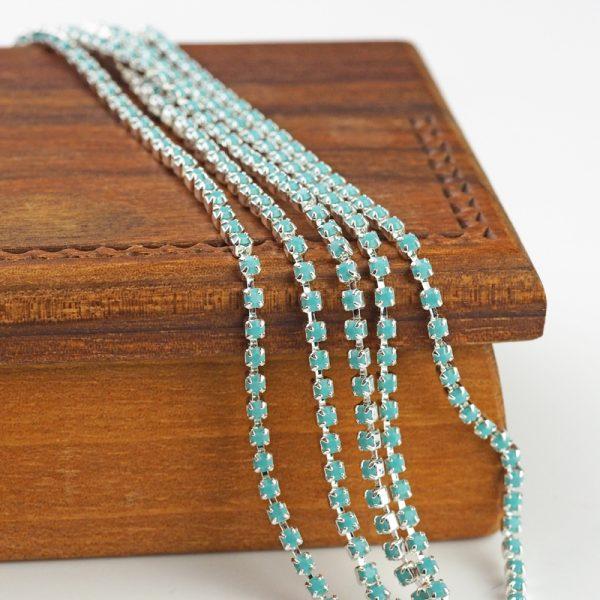 2.1 mm rhinestone chain with Turquoise Preciosa crystals in silver setting x 20 cm