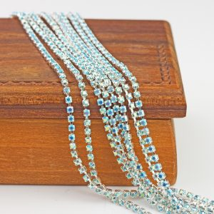 2.1 mm rhinestone chain with Turquoise AB Preciosa crystals in silver setting x 20 cm